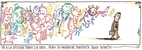 Liniers: Va a la oficina todos los días... pero su mundo de fantasía sigue intacto