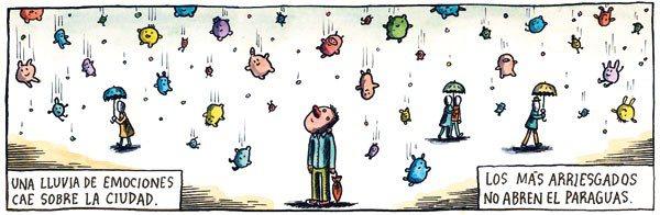 Liniers: Una lluvia de emociones cae sobre la ciudad. Los más arriesgados no abren el paraguas.