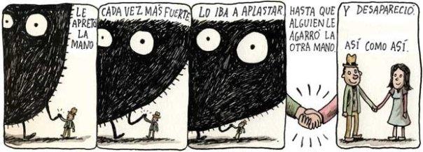 Liniers – Le apretó la mano cada vez más fuerte. Lo iba a aplastar hasta que alguien le agarró la otra mano. Y desapareció así como así.