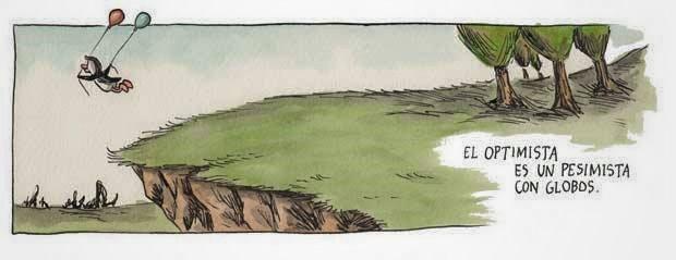 Liniers – El optimista es un pesimista con globos.