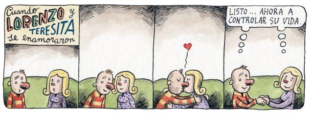 Liniers – Cuando Lorenzo y Teresita se enamoraron: Listo… ahora a controlar su vida.