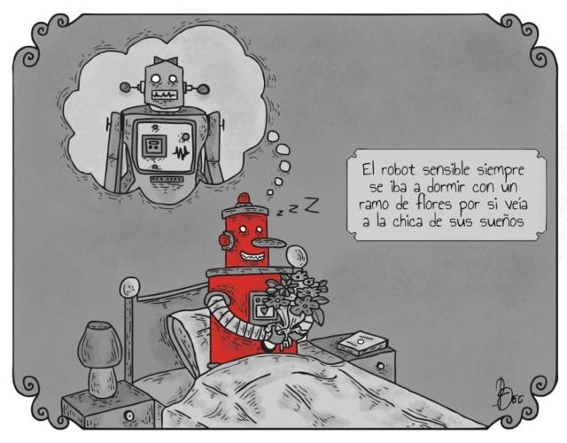 Liniers – Z-25 – El robot sensible siempre se iba a dormir con un ramo de flores por si veía a la chica de sus sueños