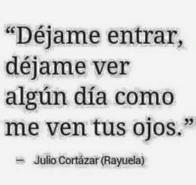 """Julio Cortázar – Rayuela – """"Déjame entrar, déjame ver algún día como me ven tus ojos."""""""