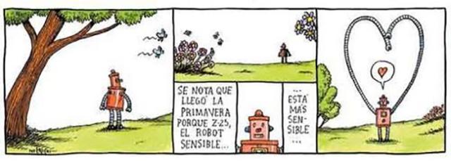 Liniers – Se nota que llegó la primavera porque Z-25, el robot sensible… está más sensible…