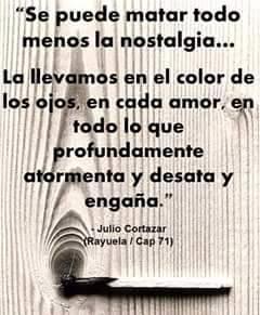 """Julio Cortázar – Rayuela – """"Se puede matar todo menos la nostalgia… la llevamos en el color de los ojos, en cada amor, en todo lo que profundamente atormenta y desata y engaña."""""""