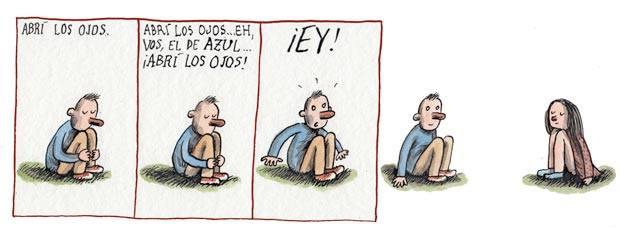 Liniers – Abrí los ojos. Abrí los ojos… eh, vos, el de azul… ¡Abrí los ojos! ¡Ey!