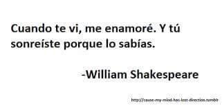 William Shakespeare – Romeo y Julieta – Cuando te vi, me enamoré. Y tú, sonreíste porque lo sabías.