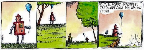 Liniers – Z–25, el robot sensible, trata que cada día sea una fiesta.